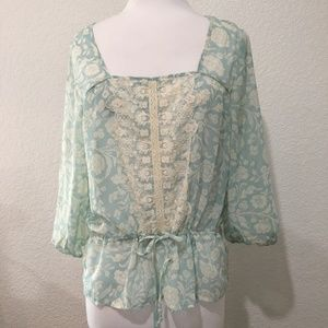 Maurices Shirt Medium Semi Sheer Blue Floral Lace